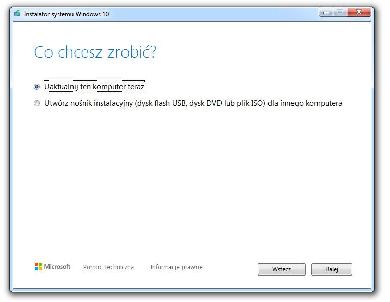 Aktualizacja systemu Windows