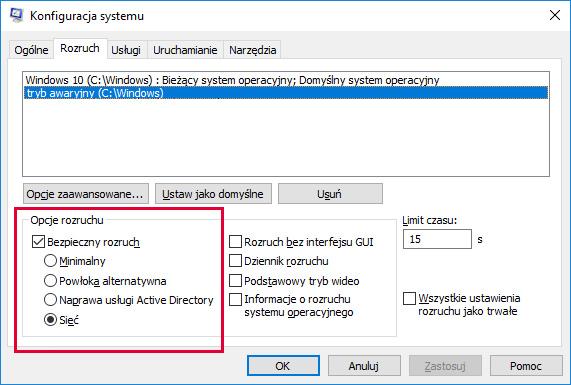 Windows 10 tryb awaryjny zakładka rozruch