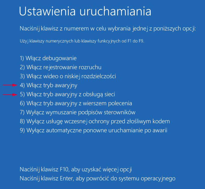 Tryb awaryjny w Windows 10