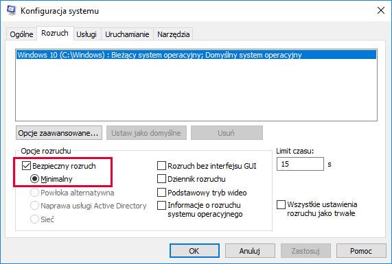 Zakładka uruchamianie Windows 10